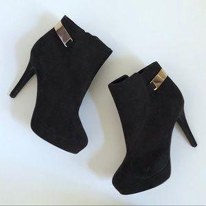 Black Platform Heel Ankle Boots w/ Gold Accent